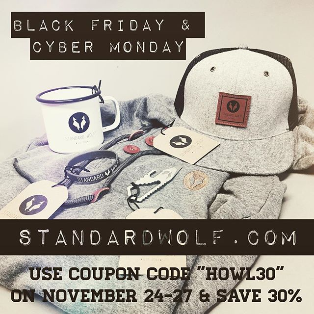 "LAST CHANCE! 🐺 Standard Wolf® CYBER MONDAY! - Use coupon code ""HOWL30"" on November 27 & SAVE 30%! Visit the link in the bio to shop now. @standardwolf #standardwolf #deals #blackfriday #cybermonday #sale #save #christmasgiftsideas #adventureawaits #shoplocal #indiebrand #okanagan #britishcolumbia"
