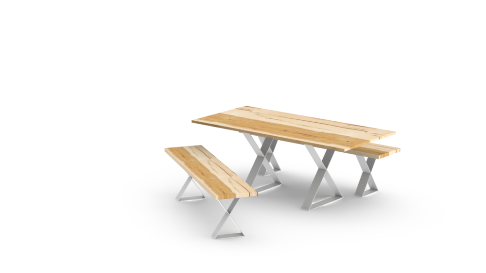 X Base Benches with Table - White.png