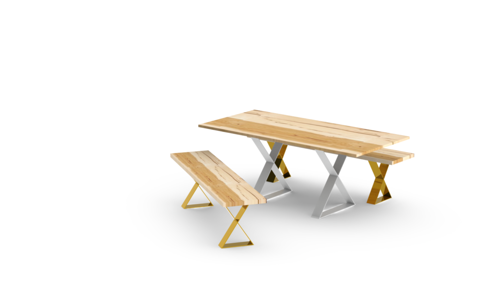 X Base Benches with Table - White and Brass.png
