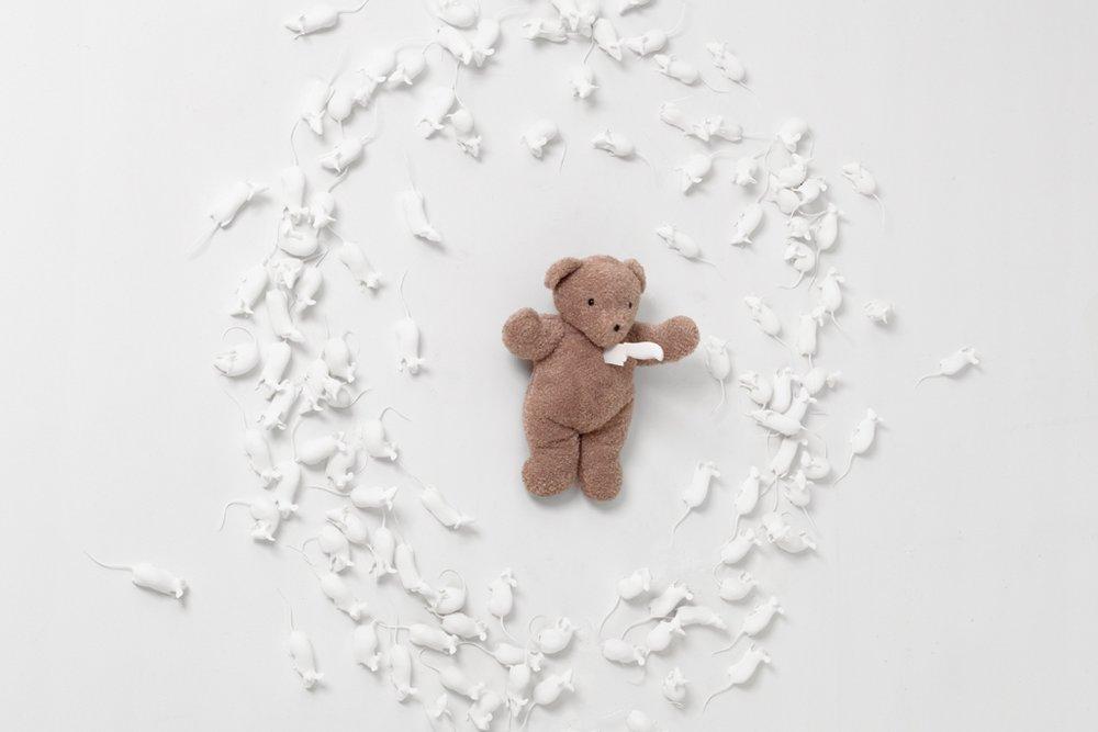 Hovnanian, Rachel Lee_ Poor Teddy_2014_Nylon, oil, teddy bear, knife, silicone_Dimensions variable_(View #1).jpg