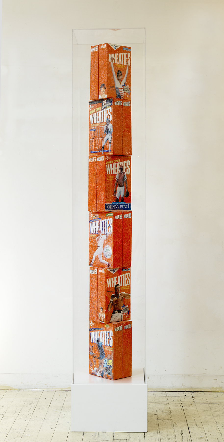 Wheaties Totem , 2016  Cereal boxes, acrylic paint, crushed glass, wood, plexiglass  85 x 16 x 16 inches