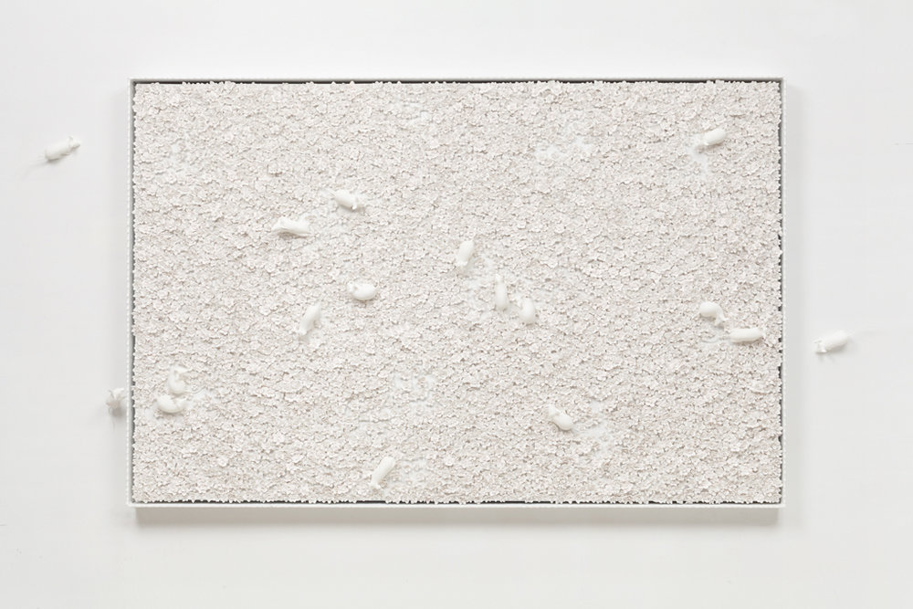 White Narcissus Panel with Mice I , 2014  Porcelain, linen, acrylic, nylon, waxed cotton in artist's frame  71.5 x 46.5 x 3 inches