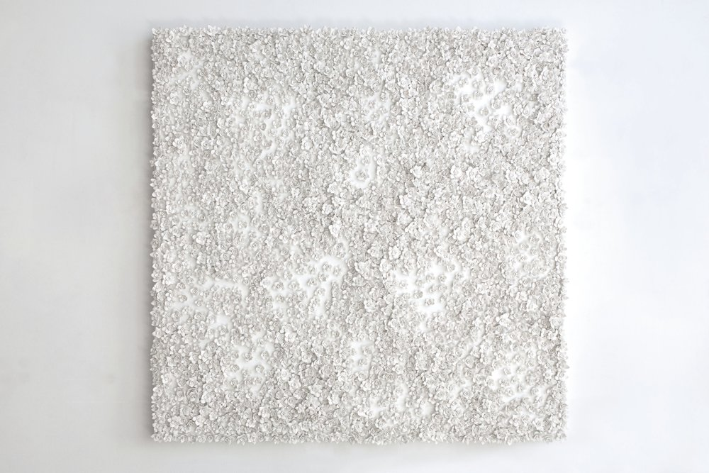 White Narcissus Panel V , 2014  Porcelain, linen, acrylic, nylon, waxed cotton  42 x 42 inches