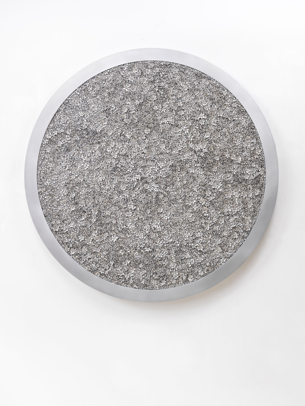 Gates of Narcissus: Motherboard Q1 (R2) , 2013  Steel, cast metal, waxed cotton, in artist's frame  48 inches diameter