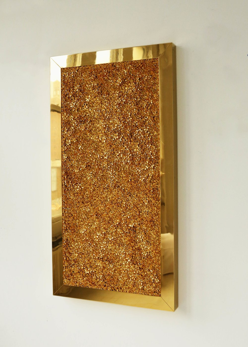 Gold Motherboard , 2013  Gold plated steel, gold plated cast metal, waxed cotton, in artist's frame  57 x 30 inches