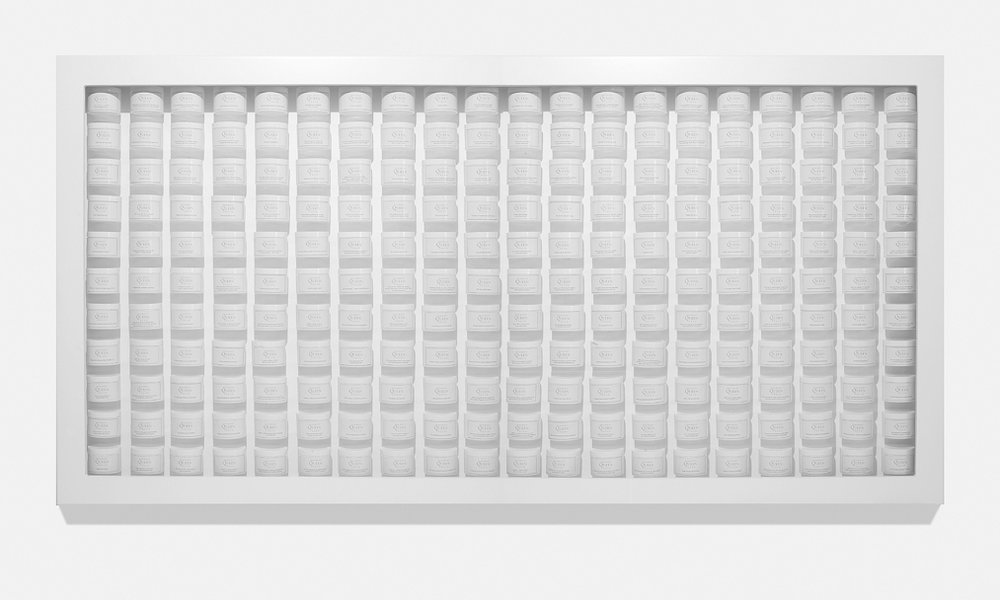 Wall of Confidence , 2009  Mixed media wall sculpture  98 x 48 x 6 inches