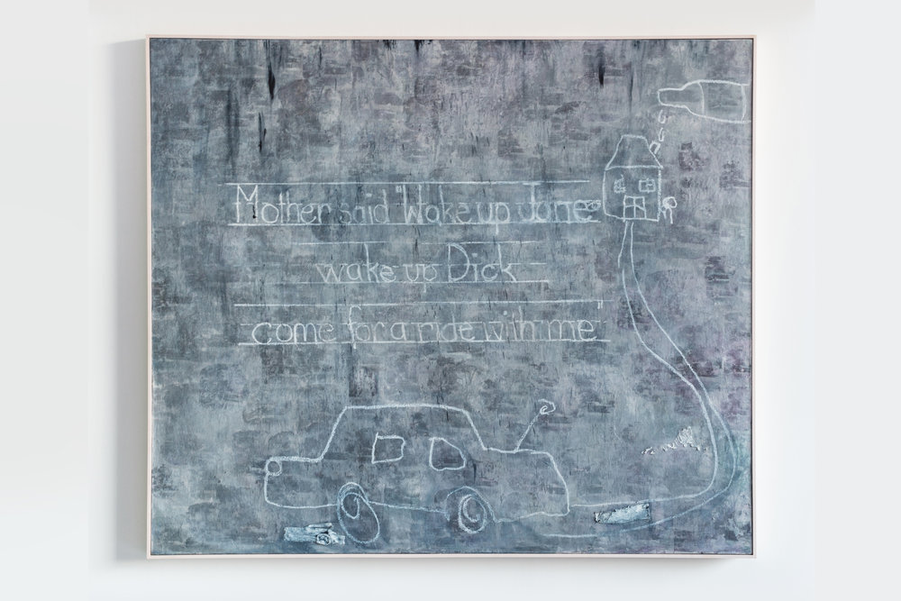 """Dark and Stormy , 2018  Mixed media on canvas  60 x 70 x 2 inches  Aptly titled,  Dark and Stormy  depicts a clouded scene of grays and blacks through which an obscured photograph of a house's facade peeks through. Hovnanian overlaid the canvas with the phrase """"Mother said 'Wake Up Jane, wake up Dick, come for a ride with me."""" The phrase, taken from the classic book series  Dick and Jane , alludes to her own childhood when her mother would take her and her brothers out of the house when Hovnanian's father would come home drunk."""