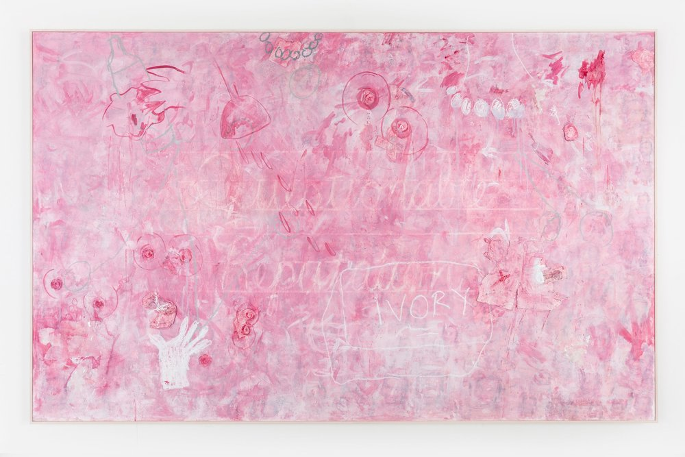 """Pink Panty Dropper , 2018  Mixed media on canvas  60 x 96 x 2 inches   Pink Panty Dropper  presents another iteration of the phrase """"Questionable Reputation."""" Here, the script is situated amongst a pastel drawing of an Ivory soap (an icon of purity and cleanliness in the American cultural imagination) and breasts with nipples made from round Girl Scout badges. Like  Pink Lady ,  Pink Panty Dropper  satirizes the overwhelming nature of respectability politics in beauty culture. If a woman is perceived by her society to have a questionable reputation, that notion will haunt her, in much the same way as this dream-like work leaves a haunting impression."""