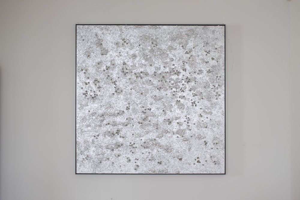 Reflection of the Narcissus III , 2011  Acrylic on linen, silver leaf, cast metal, leather, in artist's frame  91 x 91 x 3 inches