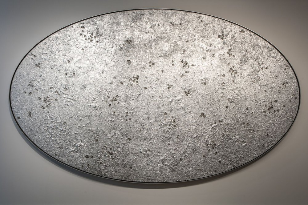Reflections Pool (Large) , 2013  Acrylic on linen, silver leaf, cast metal, leather, in artist's frame  144 x 84 inches