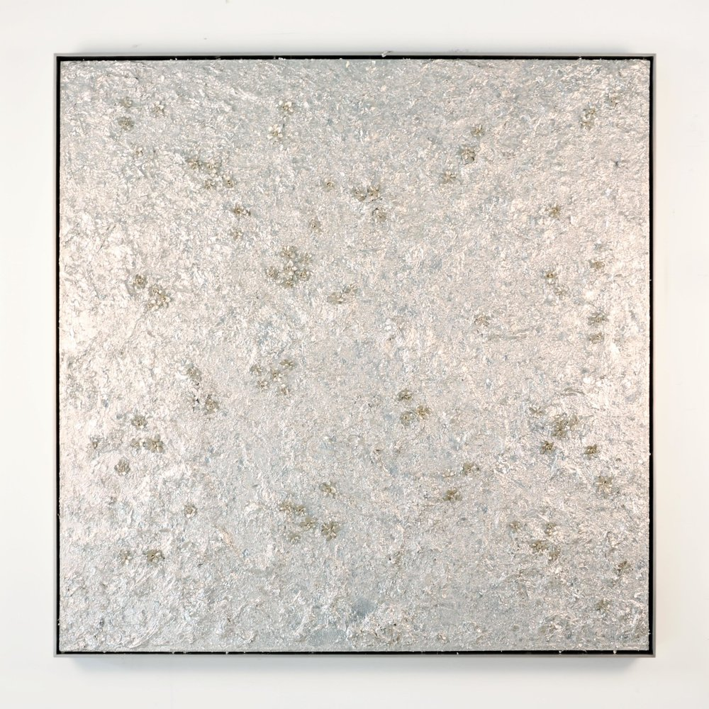 Reflection XIII , 2013  Acrylic on linen, silver leaf, cast metal, leather, in artist's frame  49 x 49 inches