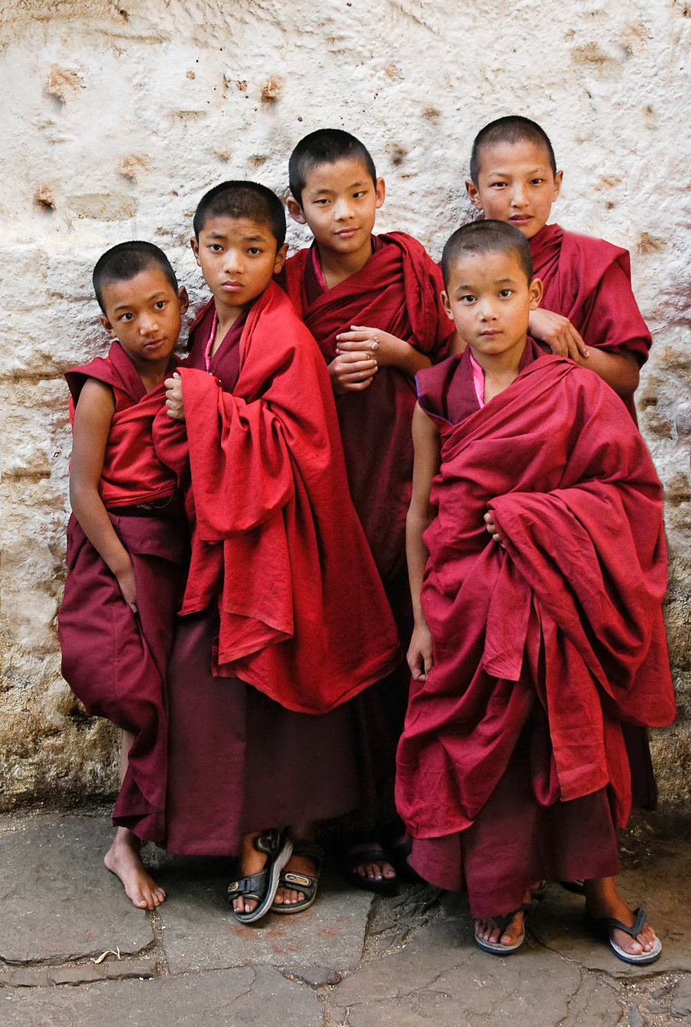 Apprentice monks, Buddhist monastery, central Bhutan