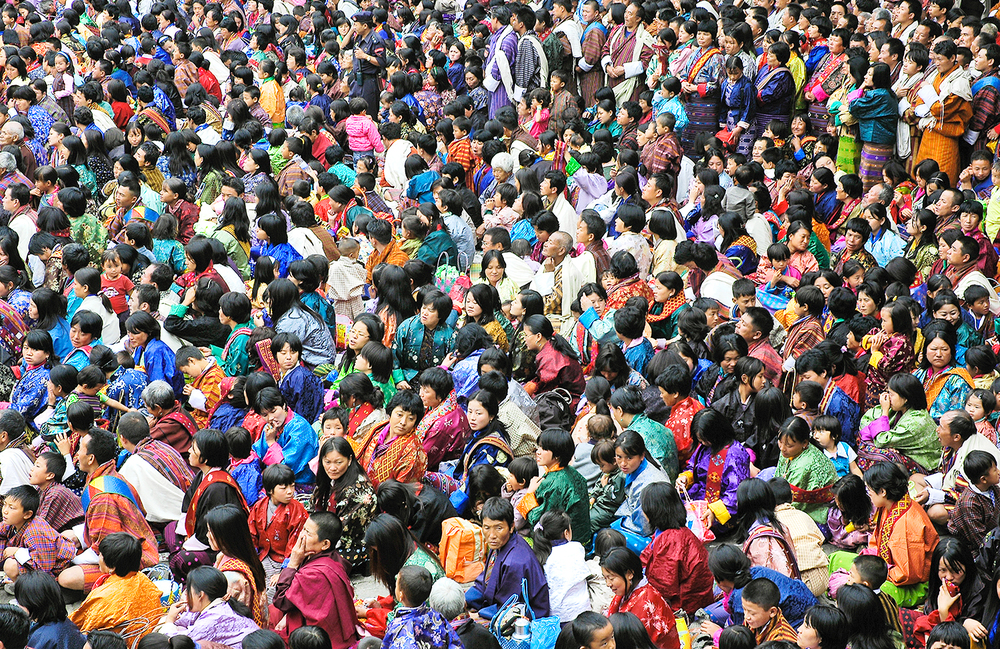 Audience at monks' festival, Thimpu, Bhutan