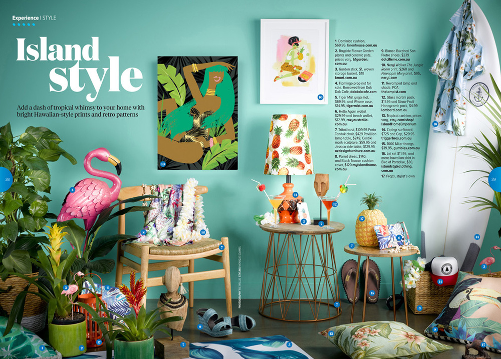 Limited edition giclee art prints featured in Jetstar magazine April 2016. Photo by Ric Wallis, styled by Monique Soames.