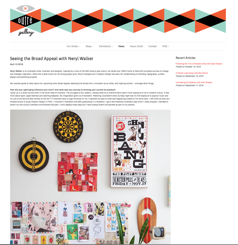 Outre Gallery interview about Broad Appeal exhibition
