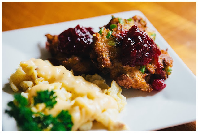 Turkey Cakes with Potato Spätzle and Gravy