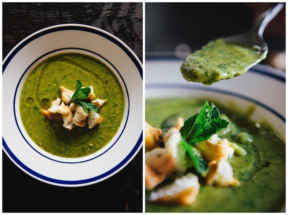 Split Pea Soup with Fish & Mint Meringue