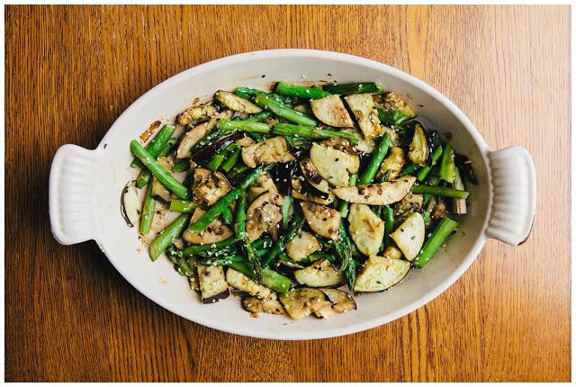 baked asparagus and eggplant
