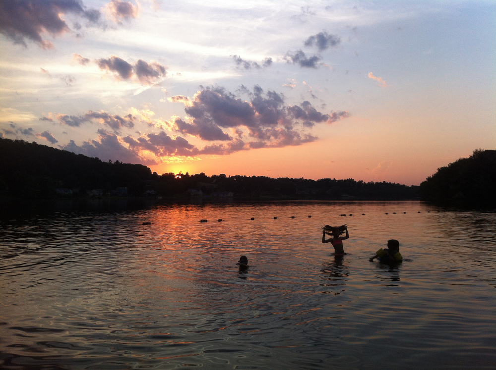 Lake Gardner Swimmers at sunset