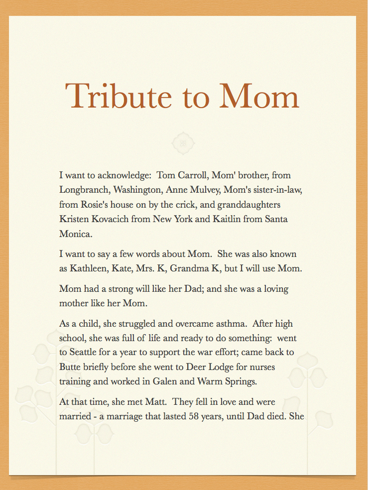 Obituary free template florence blondie profit obituary aa for Template eulogy mother