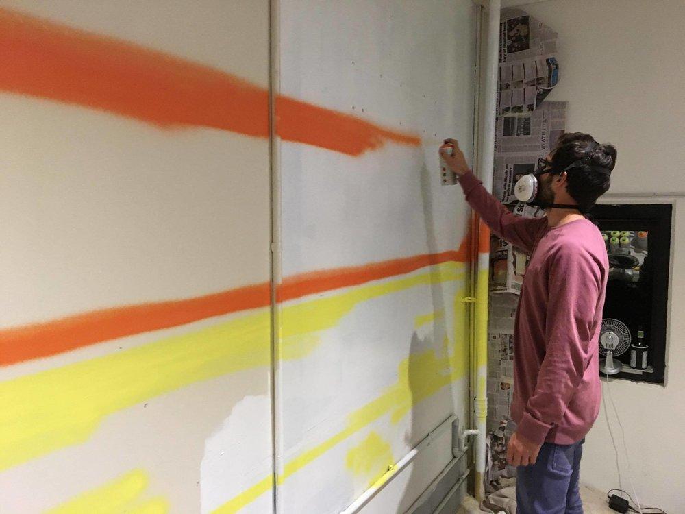 sunset beach office artwork spray paint design