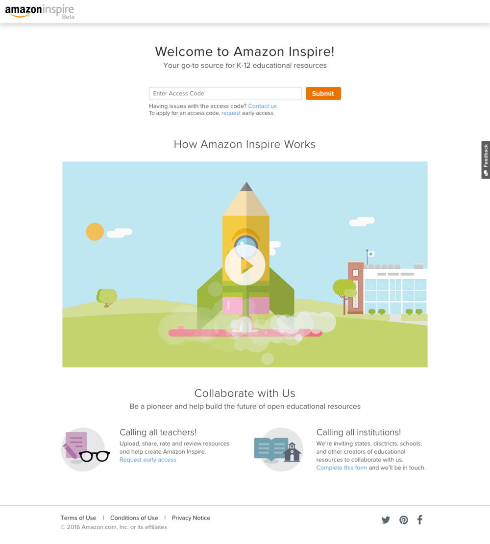 Amazon Inspire Beta Homepage