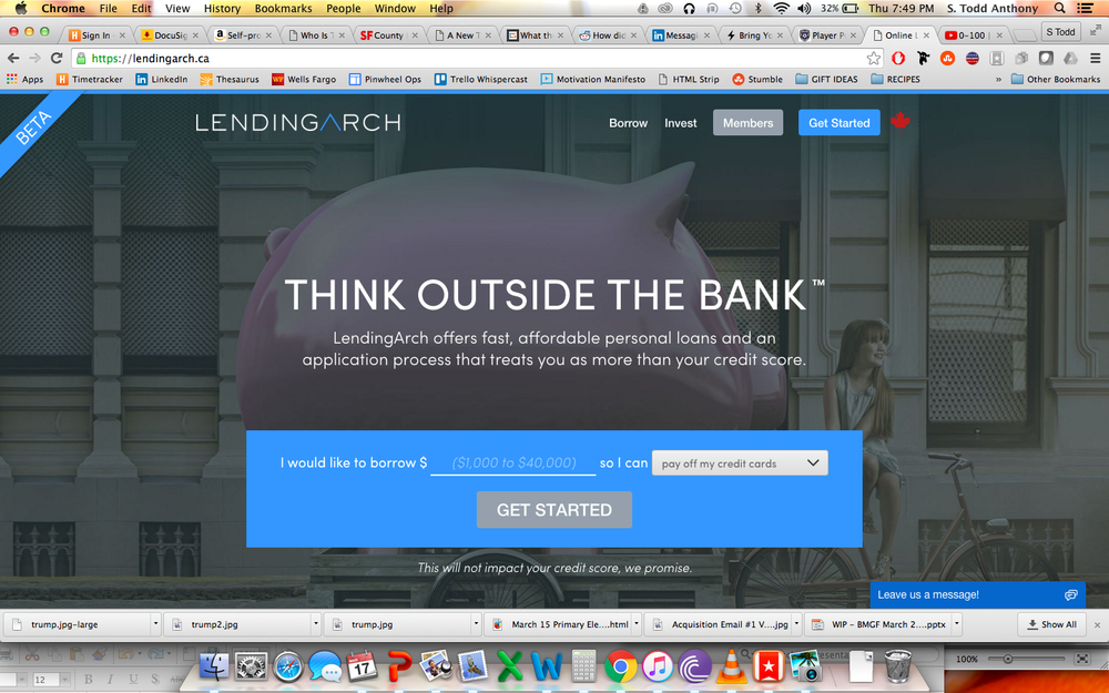 Homepage copy for a brand new lender in canada that prides itself in being more human, and humane, than your bank.