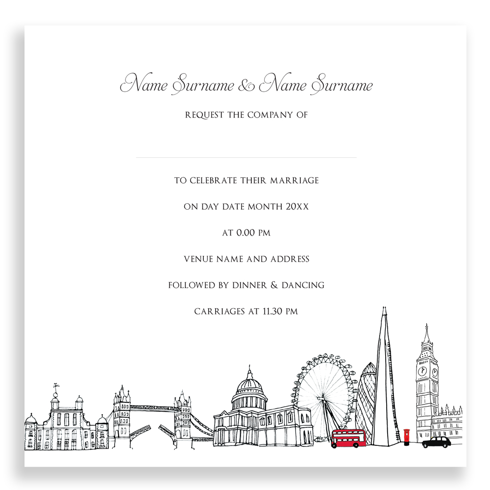 Modern London Themed Wedding Invitations Sketch - The Wedding Ideas ...