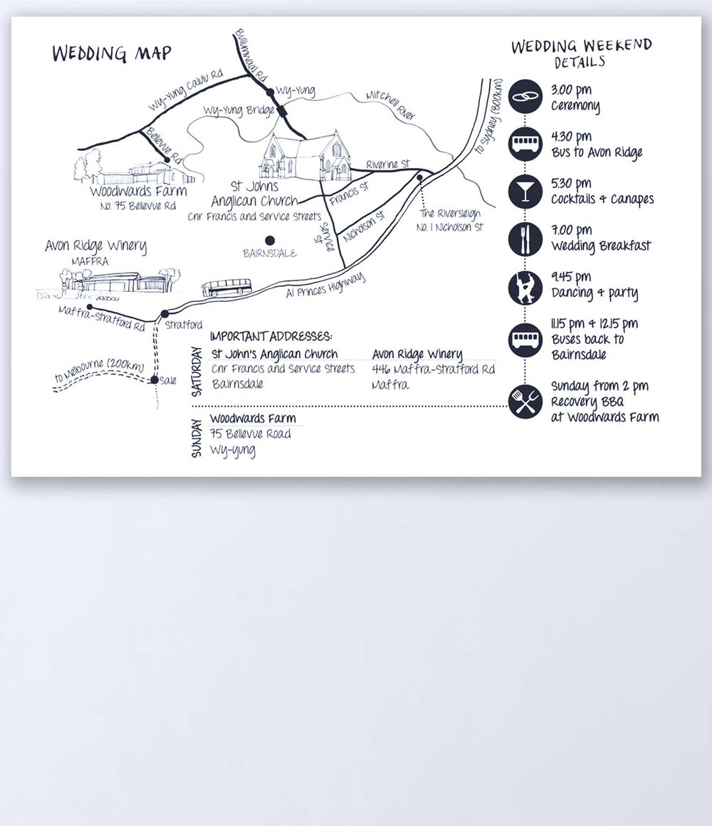 Illustrated Map with timetable