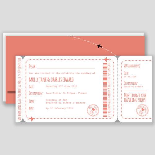 Boarding Pass Wedding Invitation - Stamp — Goldfinch Design