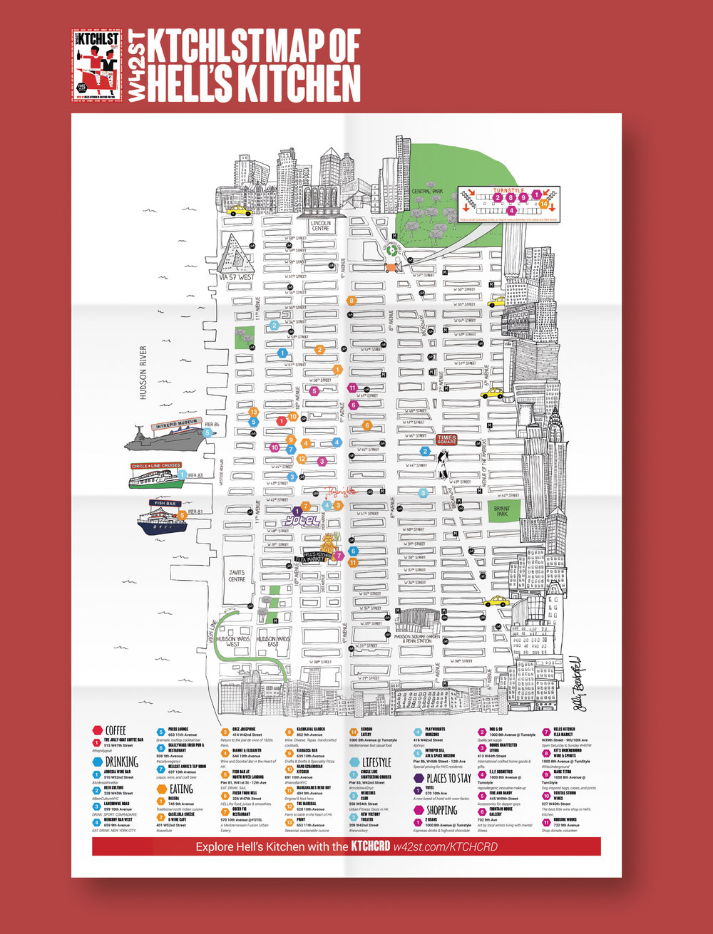 New York Map for W42ST Magazine