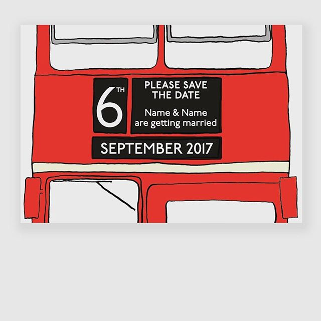 London Bus Save the Date card by Goldfinch Design. Available through our online shop at www.goldfinchdesign.co.uk/shop