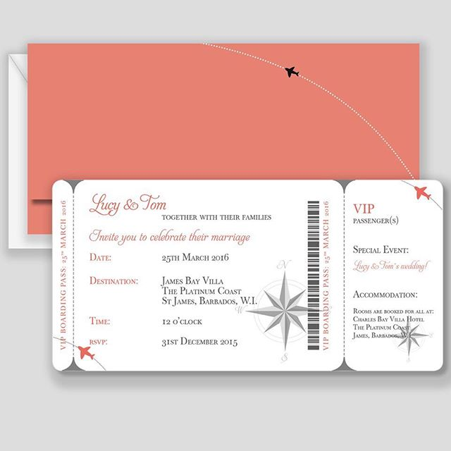Boarding Pass Wedding Invitation for a destination wedding. Available in our online shop at www.goldfinchdesign.co.uk/shop