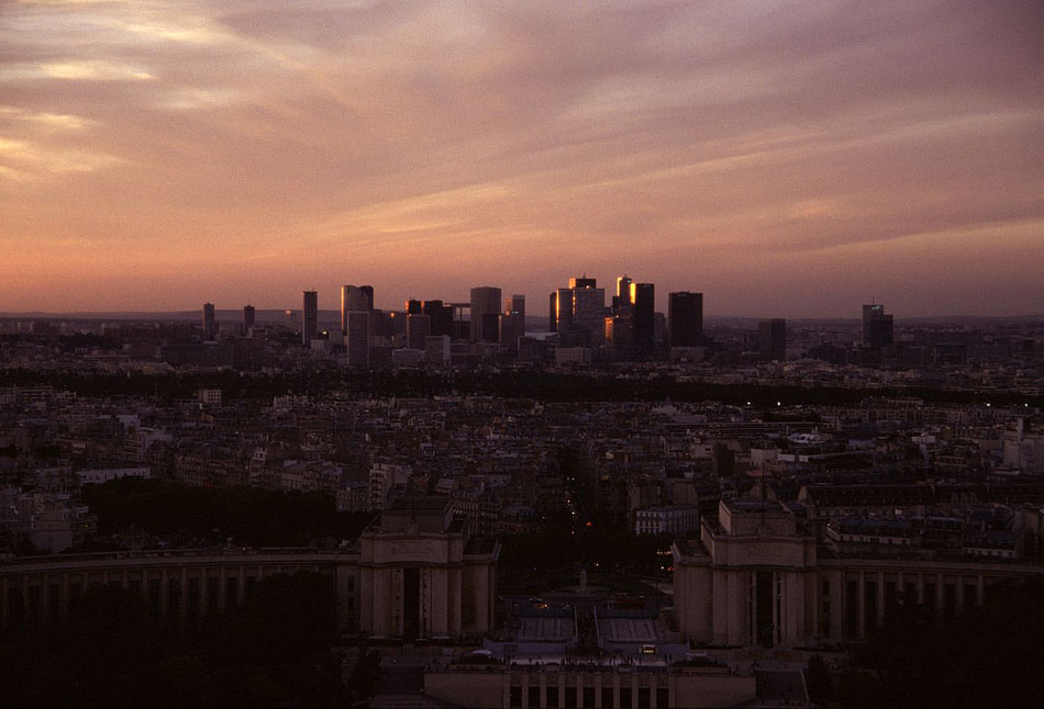 Sunset over paris, with La Defence in the distance