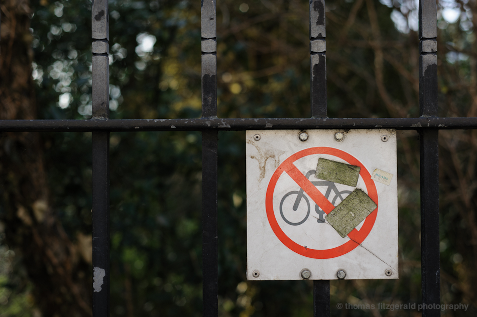 No Bike Sign on Railings