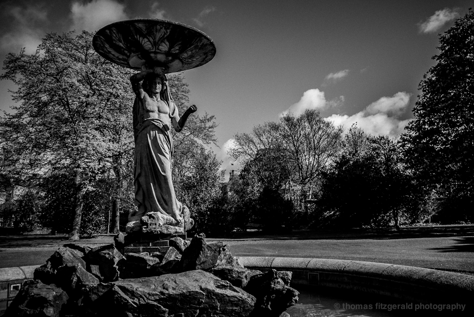 Angel fountain in Black and White
