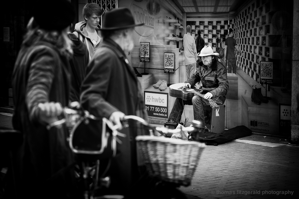 Angry Musician on Grafton Street - Fuji X-Pro1 and Fujinon 60mm