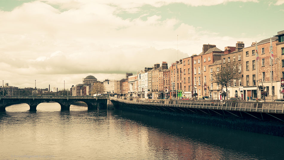looking up the liffey towards the four courts in Dublin City