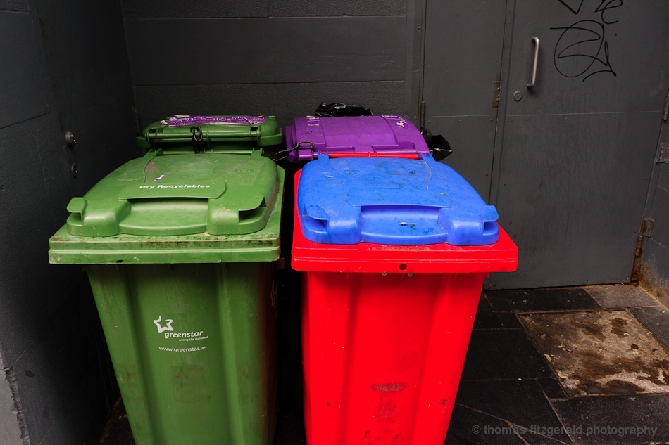 multicoloured dustbins