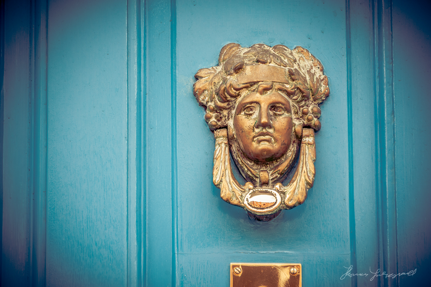 Door Knocker on Blue