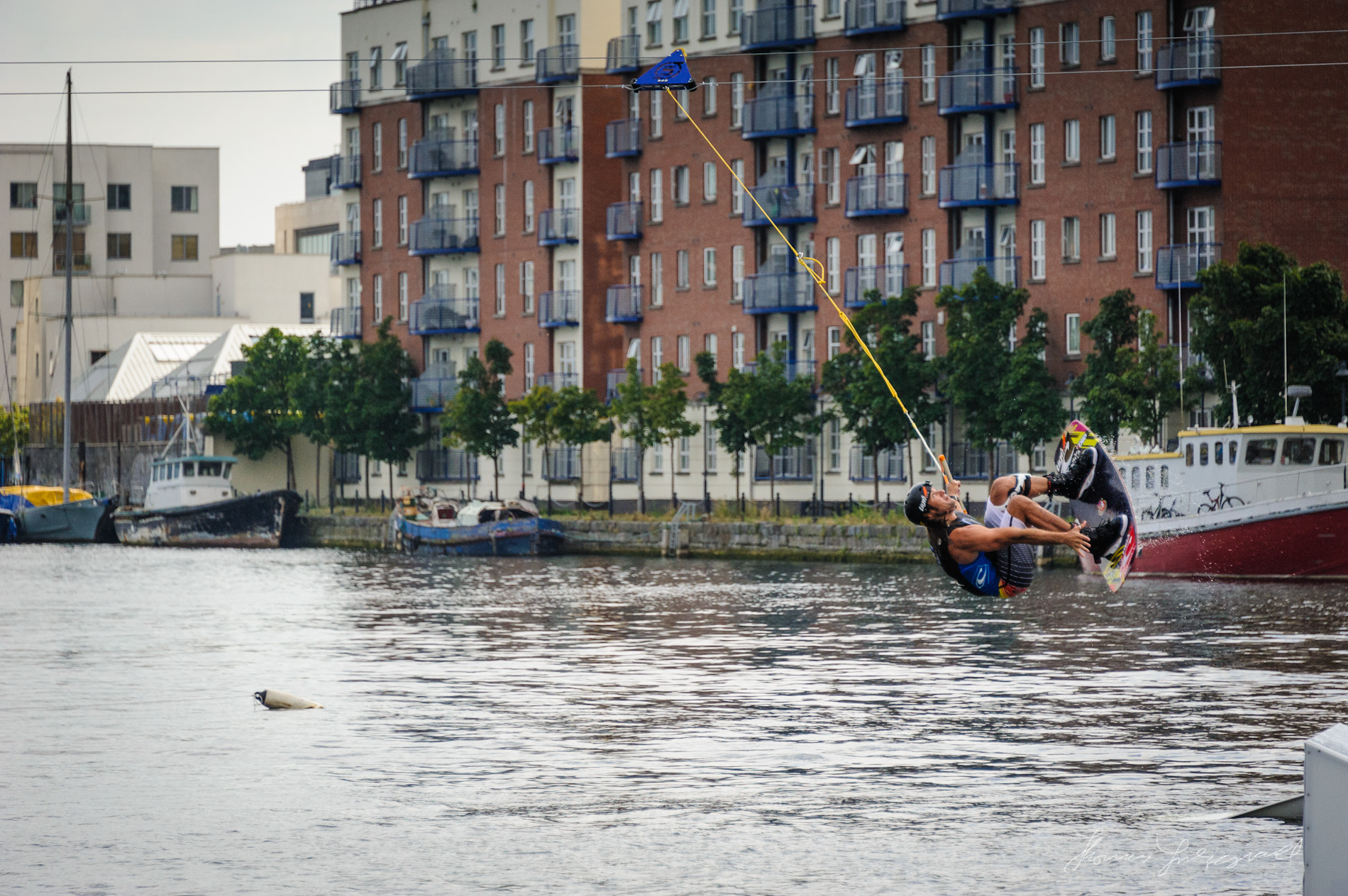 Wake boarded Catches Air at the Dublin Tall Ships Festival