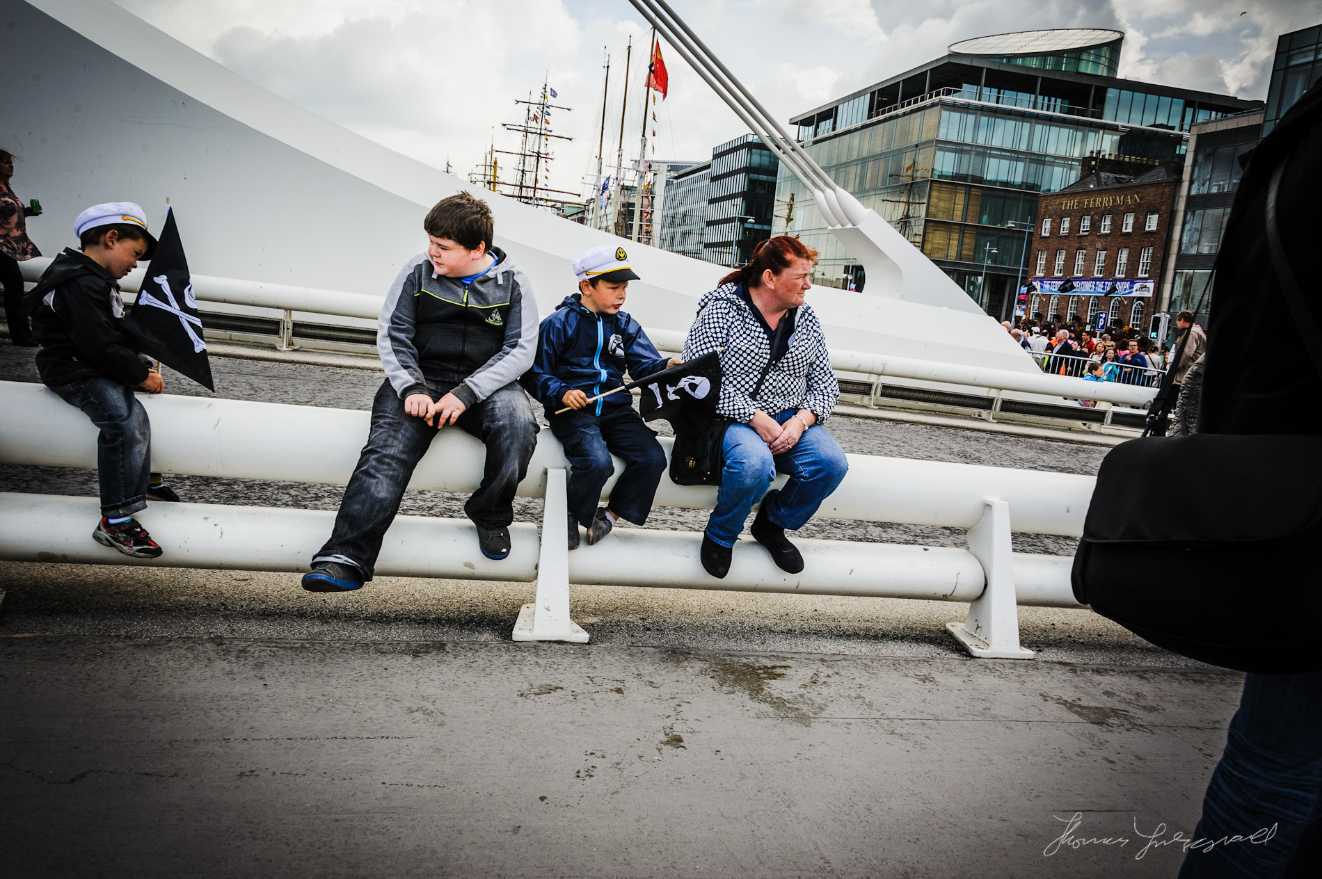 Kids on Beckett Bridge at the Dublin Tall Ships Festival
