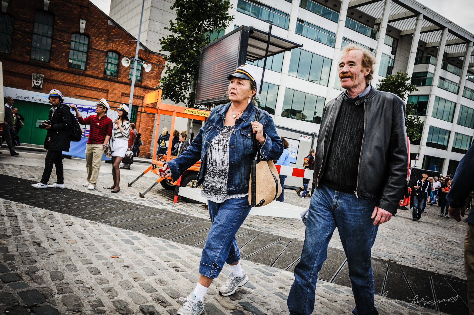 People walking with Sailor Hats - The Dublin Tall Ships Festival