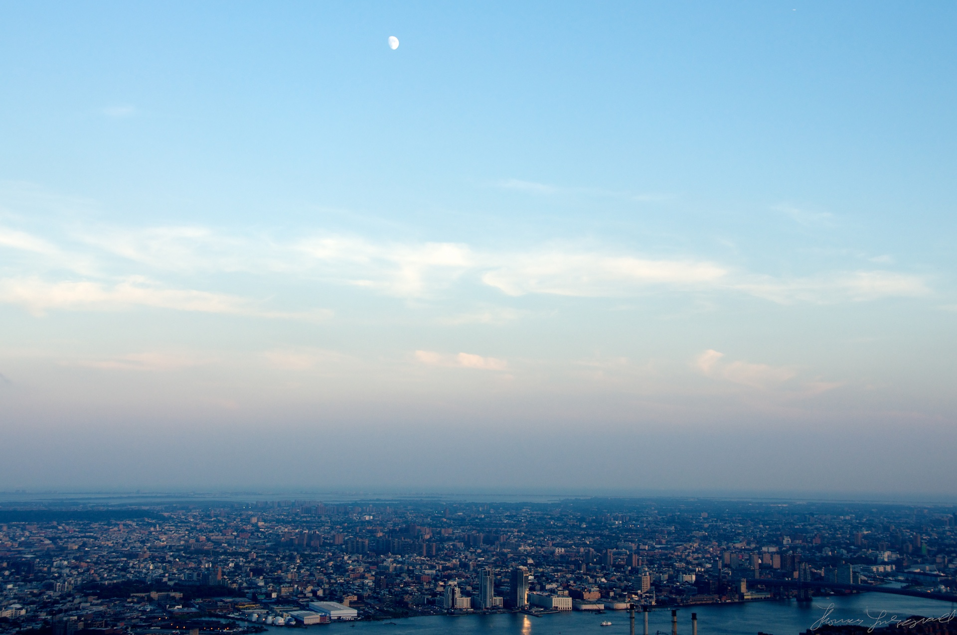 The Moon and New York City - An image