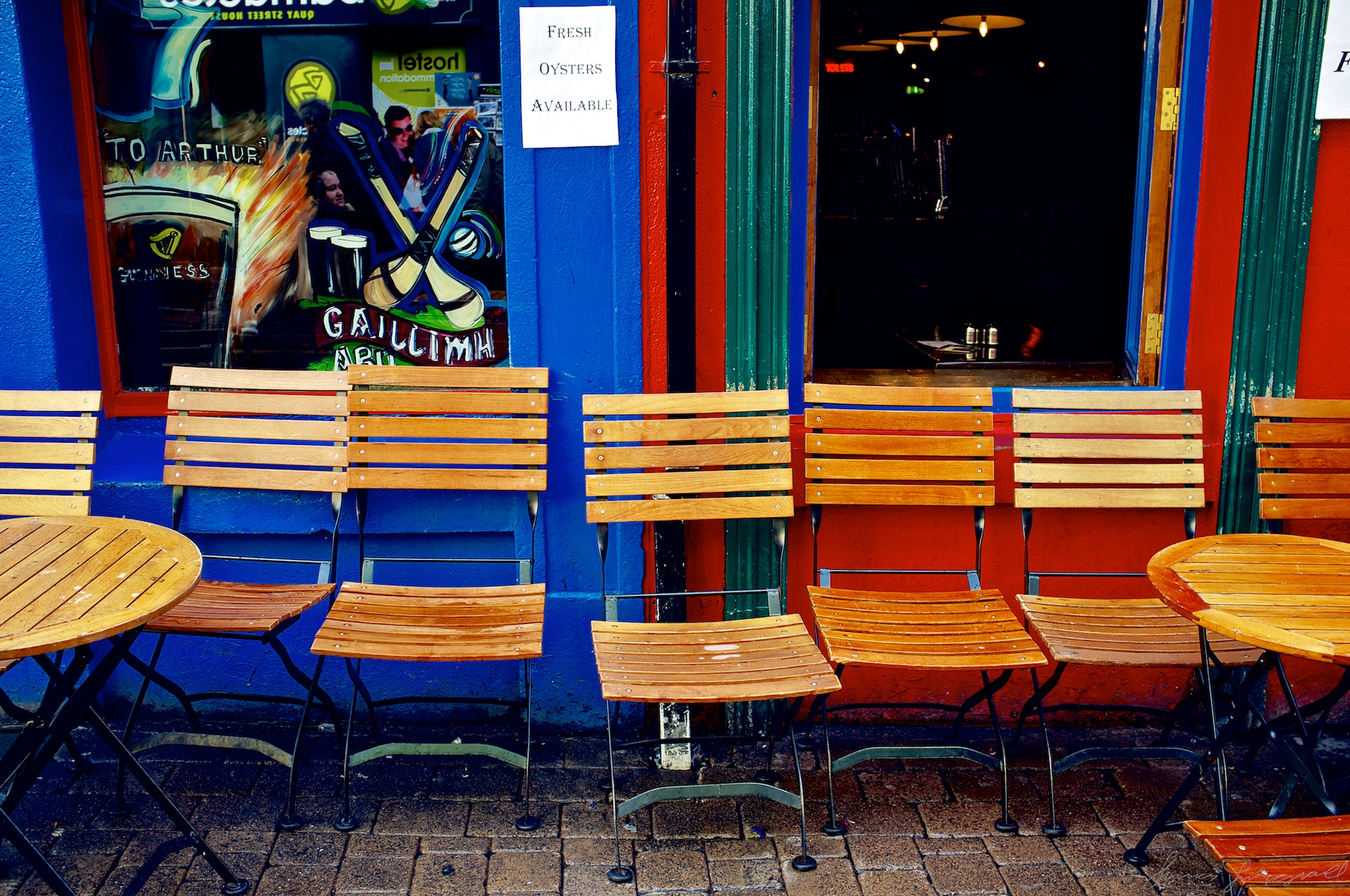 Seats outside a galway pub