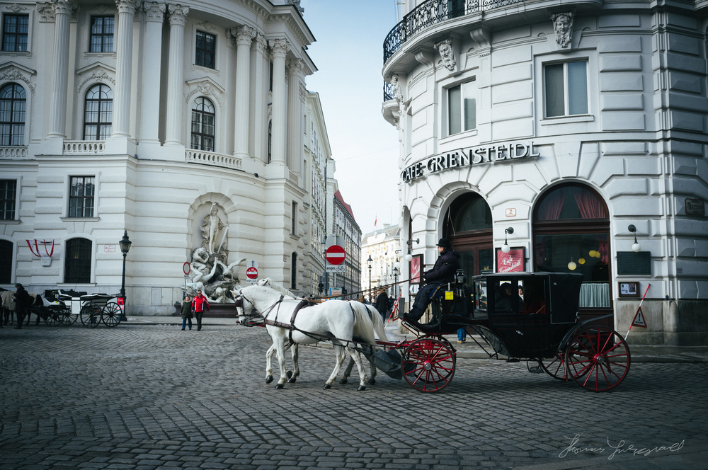 A horse and Cart on the Cobblestone Streets of Vienna Vienna, Fujifilm X100
