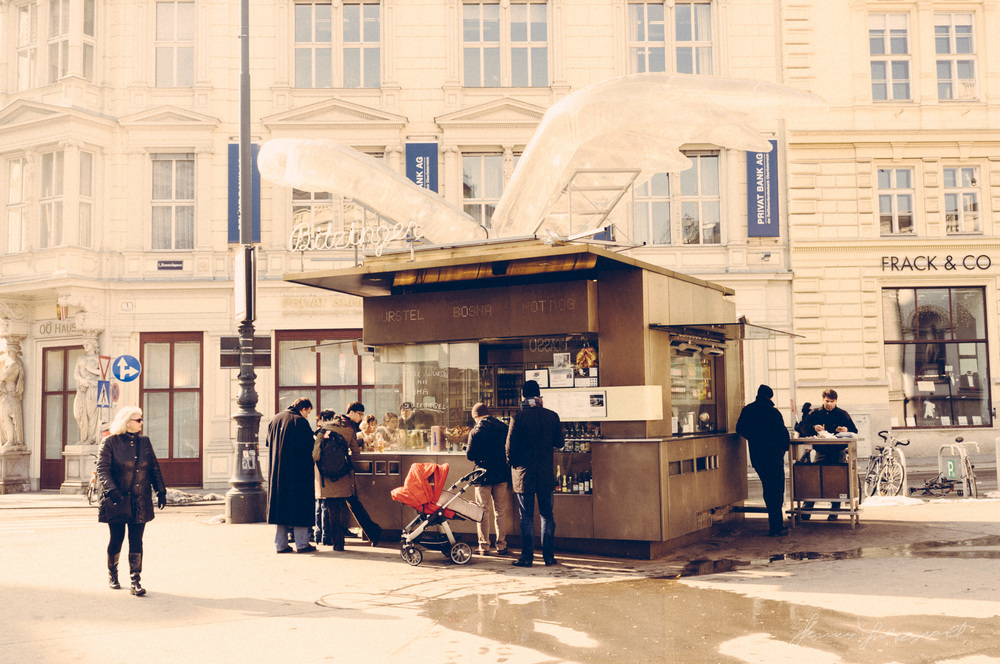 Hot Dog Stand outside the Opera House,  Vienna, Fujifilm X100