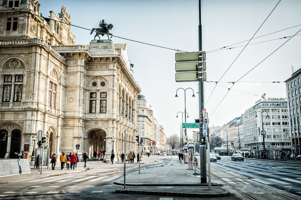 Street outside the Opera House, Vienna, Fujifilm X100
