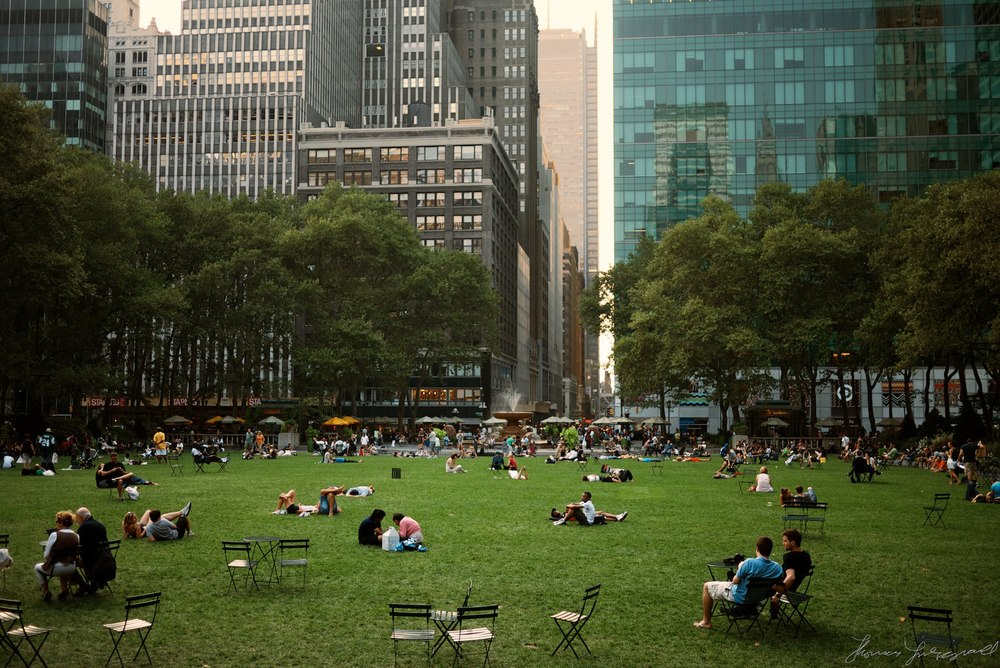 Sitting on the grass in bryant park