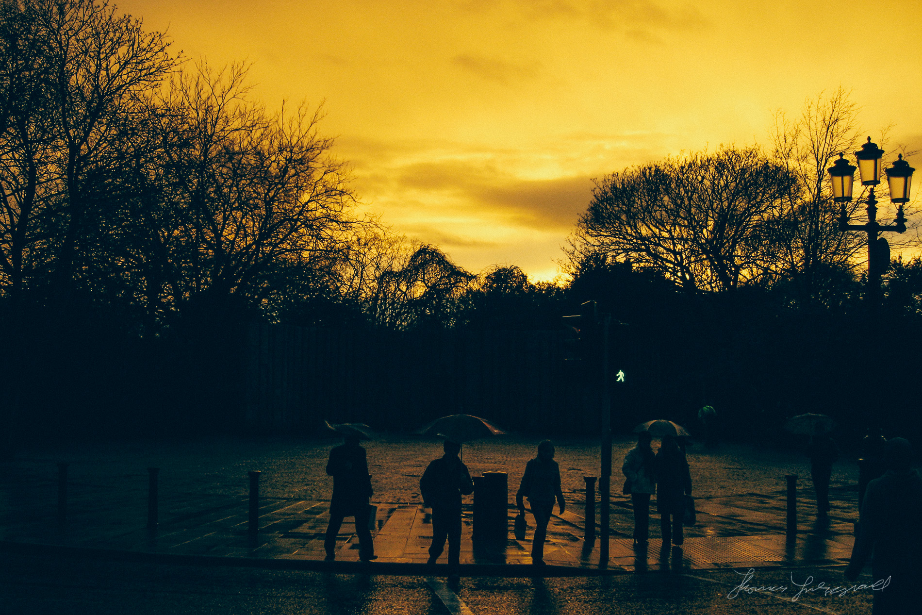 Sunset over Dublin at Stephen's Green